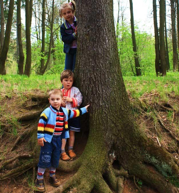 Kinder bei einer Schnitzeljagd