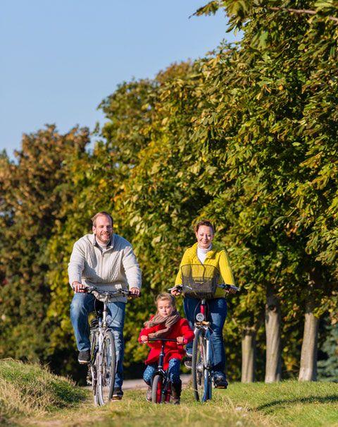 Familie auf Radtour