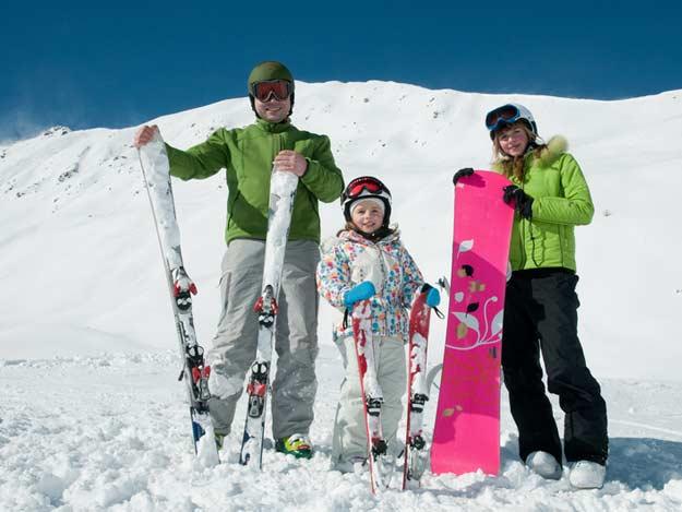 Familien auf Ski
